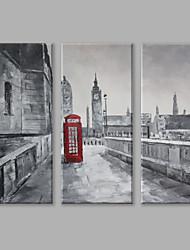 Pintados à mão Paisagens AbstratasContemprâneo Abstracto 3 Painéis Tela Pintura a Óleo For Decoração para casa