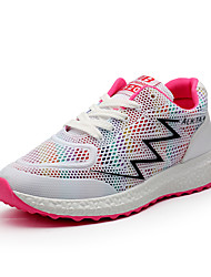 Women's Sneakers Ankle Strap Light Soles PU Summer Fall Casual Rainbow Green White 1in-1 3/4in
