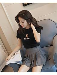 Feminino Camiseta Casual Simples Verão,Panda Algodão Decote Redondo Manga Curta