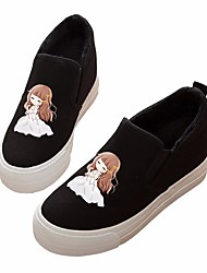 Women's Flats Comfort PU Canvas Spring Casual Black White Flat