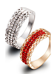 Ruby Crystal AAA Cubic Zirconia Fashion  Elegant Gemstone  Round Rings Jewelry For Wedding Party Daily  2PCS
