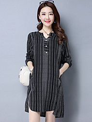 Women's Graduation Daily Sophisticated Shirt,Striped Stand Long Sleeve Linen