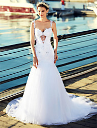 Mermaid / Trumpet Straps Chapel Train Tulle Wedding Dress with Beading Appliques