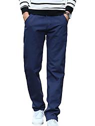 Homme simple Taille Normale Micro-élastique Actif Chino Pantalon,Ample Droite Couleur Pleine