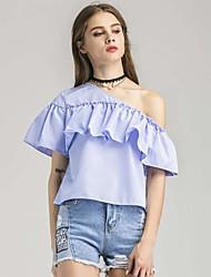 Damen Geometrisch Sexy T-shirt,Bateau Kurzarm Seide Baumwolle