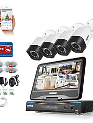 Sannce® 4ch 4pcs 720p dvr (com lcd) sistema de segurança de vigilância domiciliar impermeável sem hdd