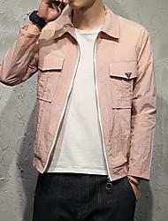 Men's Daily Modern/Comtemporary Cross-Seasons Summer Jacket,Solid Shirt Collar Long Sleeve Regular Polyester