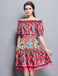 YHSPWomen's Going out Casual/Daily Sexy Simple Sophisticated A Line Sheath DressFloral Boat Neck Knee-length Above Knee Short Sleeve