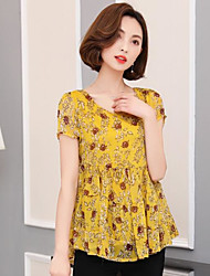 Women's Daily Casual Cute Blouse,Floral Round Neck Short Sleeve Chiffon