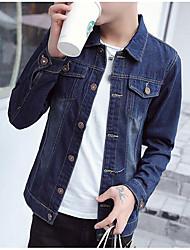 Men's Daily Modern/Comtemporary Spring Denim Jacket,Solid V Neck Long Sleeve Regular Cotton Others