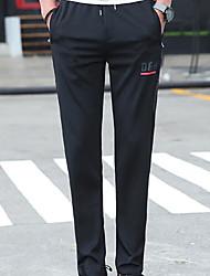 Masculino Simples Cintura Baixa strenchy Chinos Calças,Largo Sólido Frases e Citações,Côr Pura