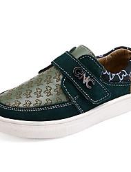 Boys' Sneakers Comfort Cowhide Spring Fall Outdoor Casual Walking Magic Tape Low Heel Green Beige Flat