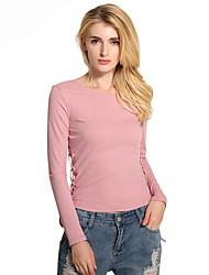 Damen Solide Einfach Alltag Normal T-shirt,Rundhalsausschnitt Frühling Sommer Langarm Baumwolle Polyester