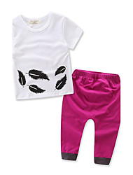 Girl's Fashion Feather Pattern Cotton Summer Baby Kida Short Sleeves T-shirt Clothing Set