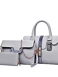 Women Bag Sets PU All Seasons Rectangle Clasp Lock Black Red Gray Brown