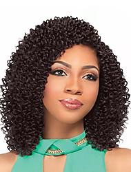 Afro rizado Trenzas Rizado Jheri Kanekalon Rubio fresa castaño medio Negro / castaño medio Negro Castaño Medio Extensiones de cabello 35cm