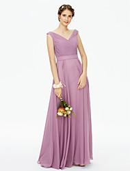 2017 LAN TING BRIDE Floor-length V-neck Bridesmaid Dress - Open Back Elegant Sleeveless Chiffon