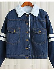 Для женщин Джинсовая куртка Квадратный вырез