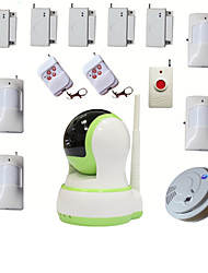 WIFI House Home Burglar Alarma Security Video HD IP Camera Alarm Systems With Wireless Smoke Detector Emergency Button
