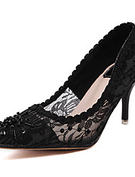 Women's Heels Formal Shoes Lace Spring Summer Wedding Party & Evening Dress Formal Shoes Beading Stiletto Heel Black 3in-3 3/4in
