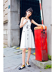 Women's Daily A Line Dress,Solid Round Neck Midi 3/4 Length Sleeve Cotton Summer Low Rise Micro-elastic Medium