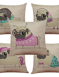 Set of 5 Fashion Dog Pattern  Linen Pillowcase Sofa Home Decor Cushion Cover (18*18inch)