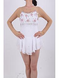 Robe de Patinage Femme Fille Manches Longues Patinage Jupes & Robes Robes Haute élasticité Robe de patinage artistique ExtensibleStrass