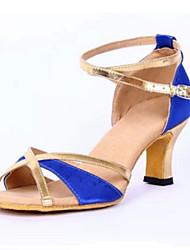 Maßfertigung Damen Latin PU Sandalen Absätze Innen Verschlussschnalle Niedriger Heel Schwarz Orange Blau 5 - 6,8 cm