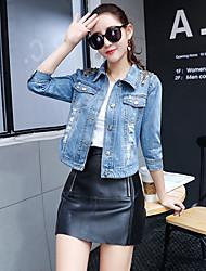 Feminino Jaqueta jeans Casual Simples Primavera,Sólido Padrão Algodão Colarinho de Camisa