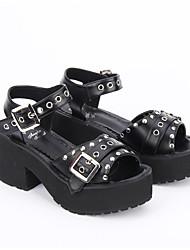 Chaussures Gothique Punk Rétro Lolita Fait à la Main Gros talon Couleur unie Chaussures à trous Lolita 8 CM Blanc Noir PourCuir PU/Cuir