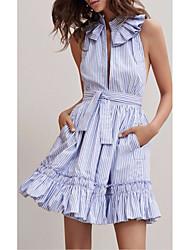Women's Fine Stripe Going out Beach Loose Dress,Striped Deep V Maxi Sleeveless Others Spring Summer High Rise Inelastic Medium