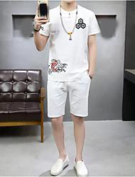 Herren Mit Mustern Einfach Normal T-shirt,Rundhalsausschnitt Sommer Kurzarm Baumwolle