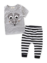 Boys Stripe Animal SetsCotton Summer Short Sleeve Clothing Set Baby Kids Clothes Suit 2pcs 6M-3Y