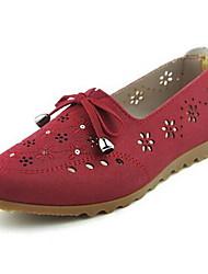Для женщин Мокасины и Свитер Удобная обувь Ткань Весна Лето Повседневные Для прогулок Удобная обувь Бант На плоской подошвеКоричневый