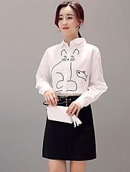 Для женщин Весна Рубашка Юбки Костюмы Рубашечный воротник Длинный рукав