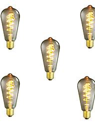 5pcs dimmable st64 40w e27 ampoule vintage edison lampe à incandescence blanche chaude lampe décorative ampoule à fil ampoule ac220-240v