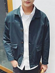 Men's Daily Modern/Comtemporary Fall Jacket,Solid Shirt Collar Long Sleeve Regular Cotton Others
