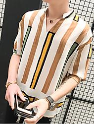 Tee-shirt Homme,Rayé Décontracté simple Manche moyenne Col en V Polyester