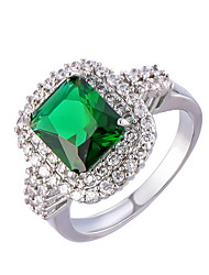 Men's Women's Ring Emerald Unique Design Fashion Euramerican Costume Jewelry Zircon Alloy Jewelry Jewelry For Wedding Special Occasion