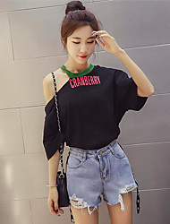 Tee-shirt Femme,Lettre et chiffre Décontracté simple Eté Manches Courtes Epaules Dénudées Coton