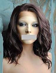 Mujer Pelucas sintéticas Encaje Frontal Medio Ondulado Marrón Entradas Naturales Parte lateral Peluca natural Peluca de Halloween Peluca