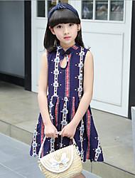 Girl's Print Dress,Cotton Polyester Summer Sleeveless