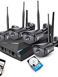 Kit de système de sécurité nvr sans fil Jooan® 4ch 960p 4 * 1.3mp extérieur ir vision nocturne wifi caméra ip cctv avec 1tb hdd