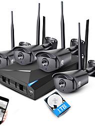 Jooan® 4ch 960p sistema de segurança nvr sem fio 4 * 1.3mp exterior ir visão noturna wifi câmera fotográfica ip com 1tb hdd