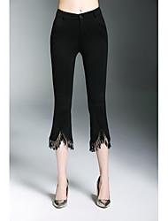 Femme simple Taille Haute Extensible Chino Pantalon,Boot Cut Franges Couleur Pleine