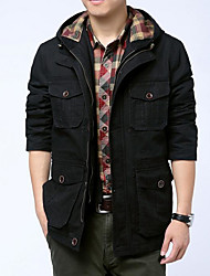 Men's Casual/Daily Simple Fall Winter Jacket,Solid Stand Long Sleeve Regular Cotton