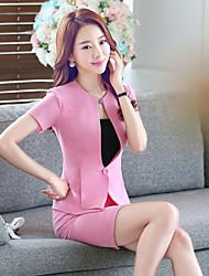 Sweat à capuche Robes Costumes Femme,Couleur Pleine Soirée / Fête Quotidien simple Printemps Eté Manches Courtes Mao
