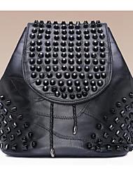 Mujer Bolsos Todas las Temporadas Piel de Oveja Mochila con para Casual Negro