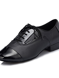 "Men's Latin Real Leather Flats Performance Criss-Cross Chunky Heel Black Under 1"" Customizable"