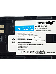 Ismartdigi LPE6 7.4V 1800mAh Camera Battery for Canon 5DS 5D2 5D3 5D4 6D 80D